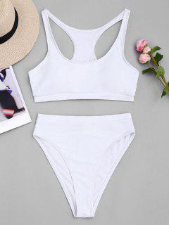 High Cut Racerback Sporty Bikini - White Xl