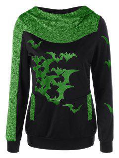 Sudadera Con Capucha Marled Print De Halloween - Verde Manzana M