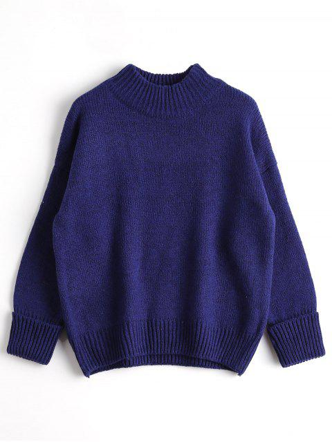 outfits Loose Heathered Mock Neck Sweater - BLUE ONE SIZE Mobile