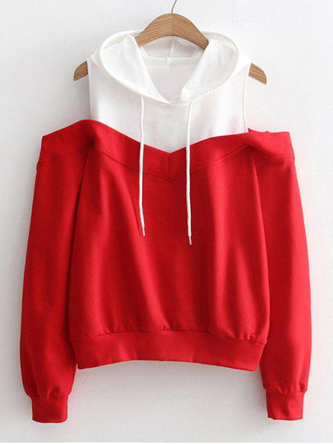 affordable Two Tone Cold Shoulder Hoodie - RED ONE SIZE Mobile