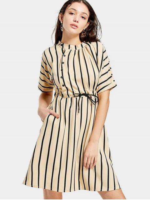 buy Half Sleeve Drawstring Striped Dress - APRICOT S Mobile