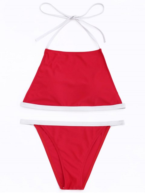 shops Contrast Trim High Neck Bikini Set - RED S Mobile