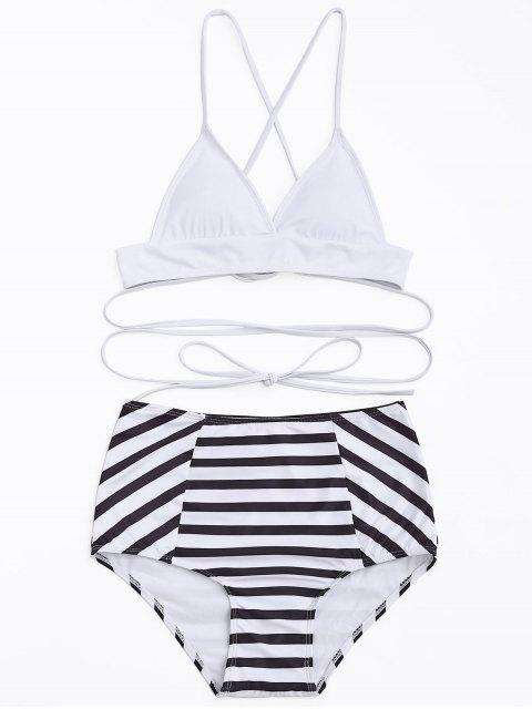 High Waisted Streifen Bikini Set - Weiß & Schwarz S Mobile
