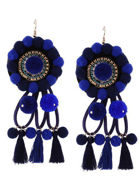 Rhinestone borla floral borroso bola pendientes - Azul  Mobile