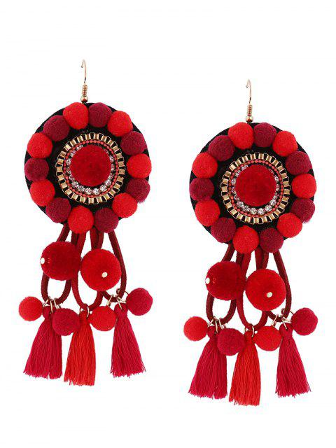 Boucles d'oreilles en boule floue florale - Rouge  Mobile