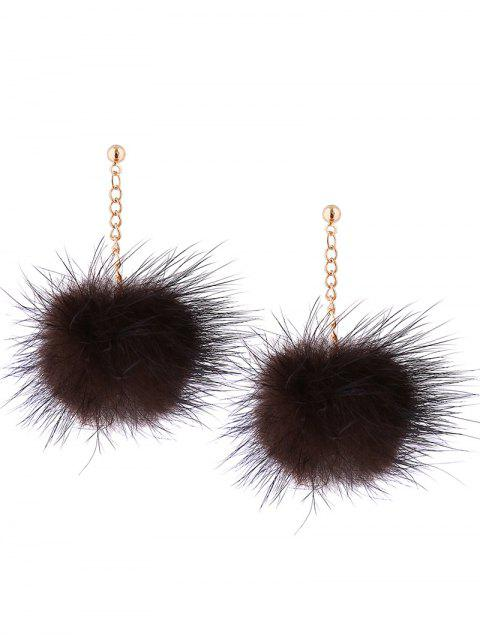 Fuzzy Ball Chain Drop Ohrringe - Braun  Mobile