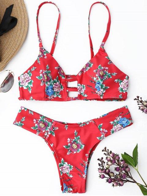Strappy Blumentang Bikini Set - Rot M Mobile