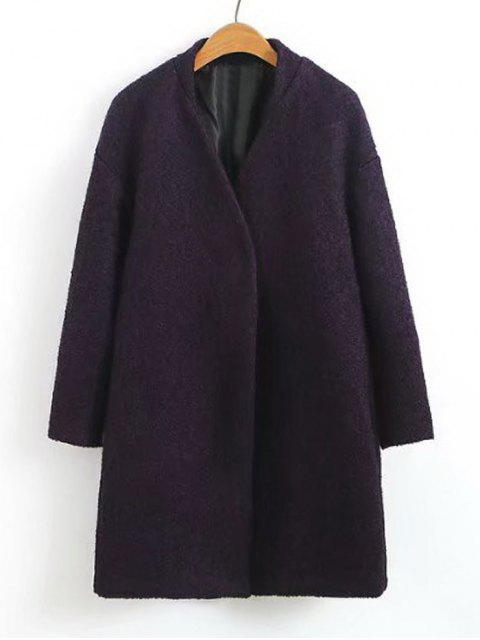 Snap Button Wolle Blend Coat - Lila L Mobile