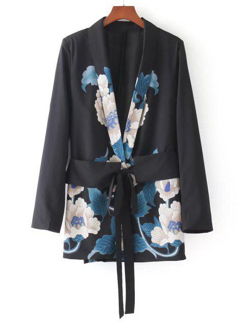 sale Metallic Ring Floral Belted Blazer - FLORAL L Mobile