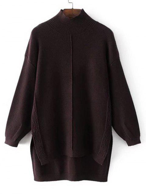 Langer Hoher Niedriger Pullover mit Mock Neck - Kaffee Eine Größe Mobile