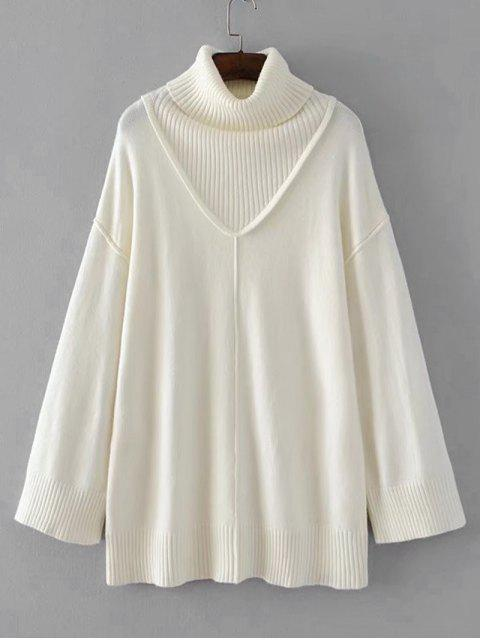 affordable Long Drop Shoulder Turtleneck Sweater - WHITE ONE SIZE Mobile