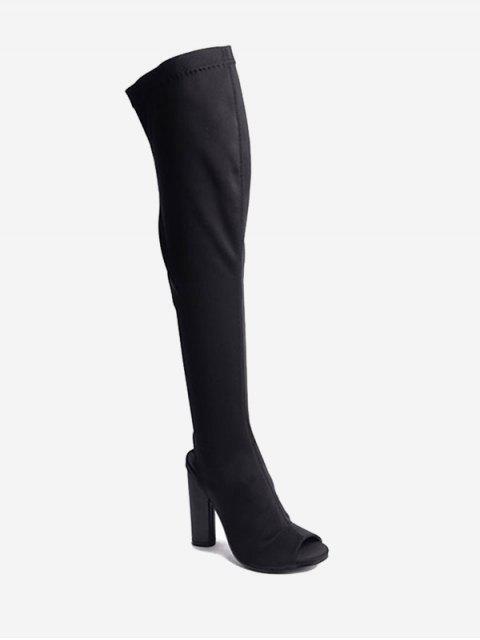 outfits Slingback Peep Toe Chunky Thigh High Boots - BLACK 36 Mobile