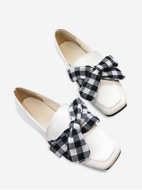 chic Slip On Bowknot Square Toe Flat Shoes - WHITE 38 Mobile