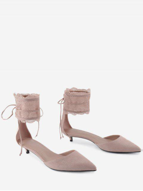 unique Pointed Toe Ankle Strap Two Pieces Sandals - SHALLOW PINK 37 Mobile