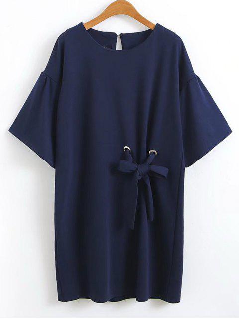 Robe Courte à Volants à Noeud Papillon - Bleu Violet L Mobile