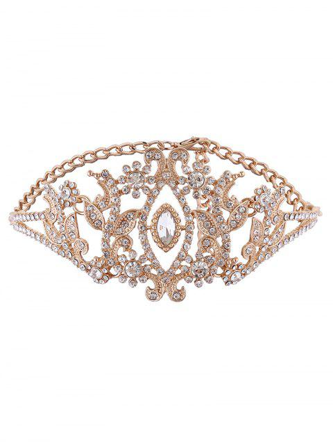 Collier en feuille d'alliage strass brillant - Or  Mobile