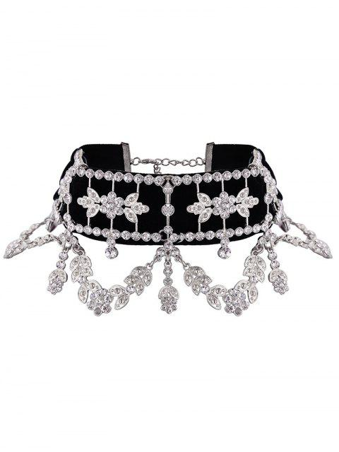 Collier de garniture en fleur de feuille de strass en alliage - SILVER  Mobile