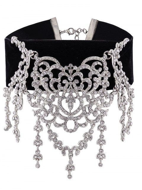 Sparkly Rhinestoned Chandelier Choker Necklace - Argent  Mobile