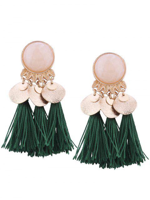 women's Faux Gem Leaf Disc Tassel Earrings - GREEN  Mobile