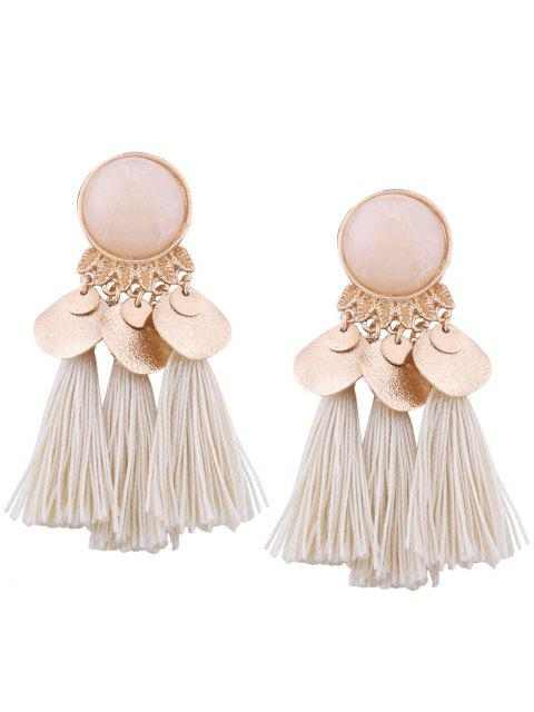 shop Faux Gem Leaf Disc Tassel Earrings - WHITE  Mobile