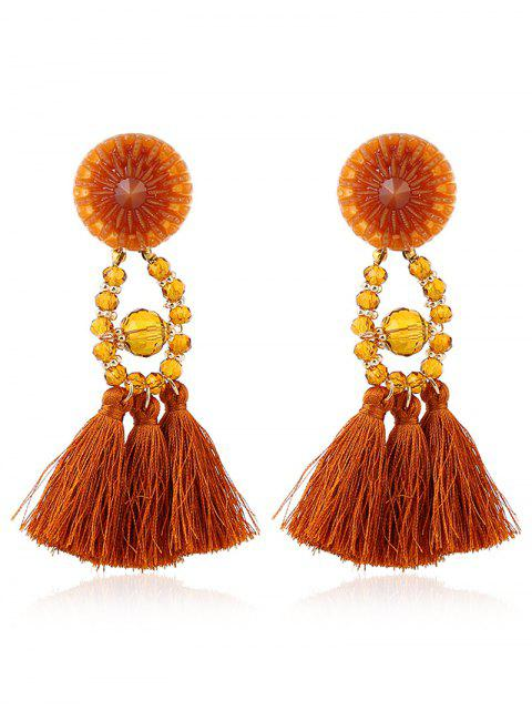 Bohemian Beaded Tassel Earrings - Jaune  Mobile