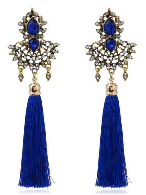 Pendientes de imitación de imitación de zafiro borla - Azul  Mobile