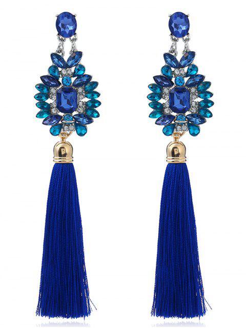 Boucles d'oreilles géométriques Faux Sapphire Tassel - Bleu  Mobile