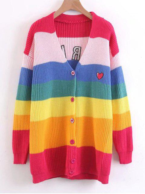 unique Stripes Button Up Heart Embroidered Sweater - MULTICOLOR ONE SIZE Mobile