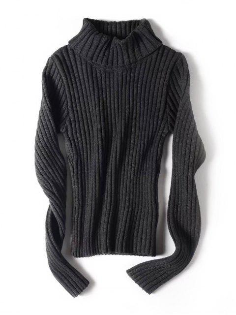 Suéter con cuello alto y cuello alto - Gris Oscuro S Mobile