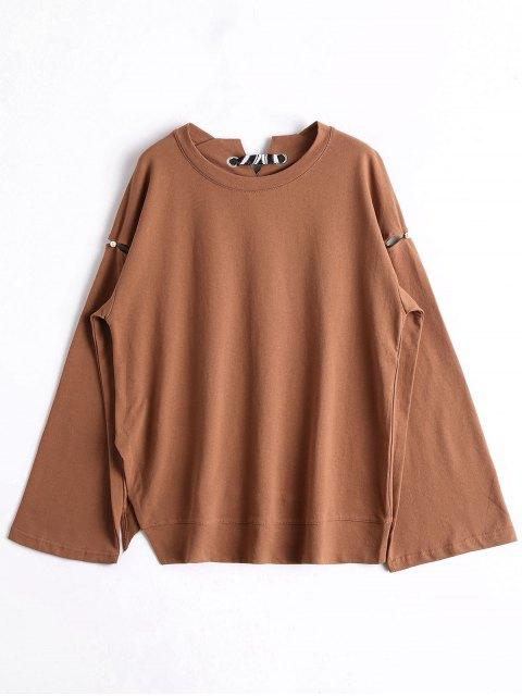 Übergröße Sweatshirt mit Verband und Perlen - Braun Eine Größe Mobile