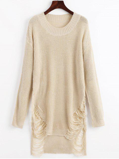 latest Distressed Mini Sweater Dress - BEIGE S Mobile