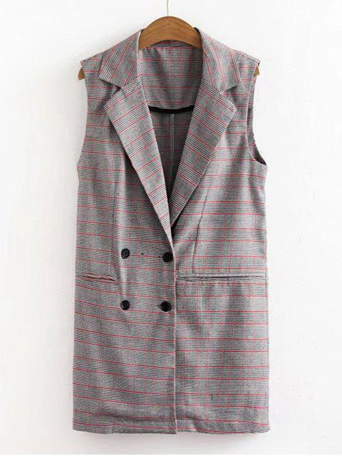 fashion Double-breasted Houndstooth Waistcoat - CHECKED M Mobile