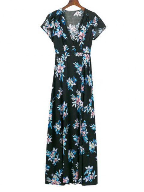 Cap manga flor envuelto vestido maxi - Floral M Mobile