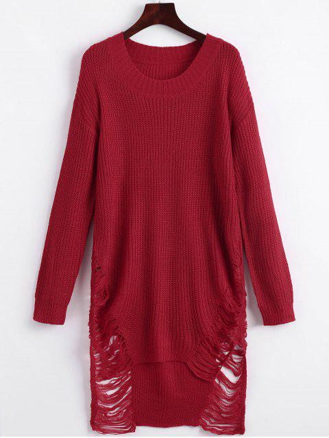 shops Distressed Mini Sweater Dress - RED S Mobile