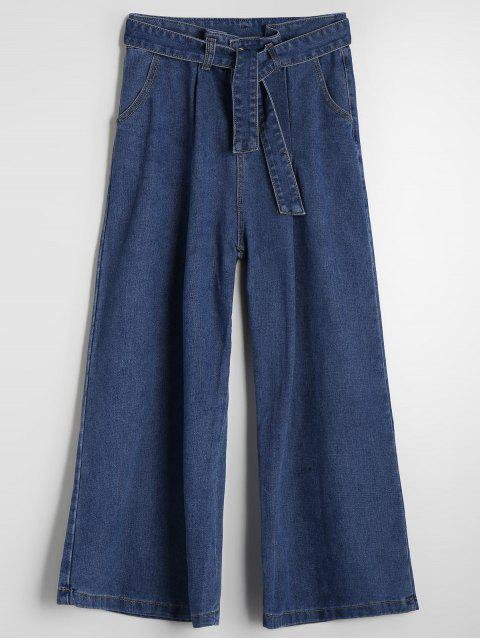 womens High Waisted Belted Wide Leg Jeans - DENIM BLUE L Mobile
