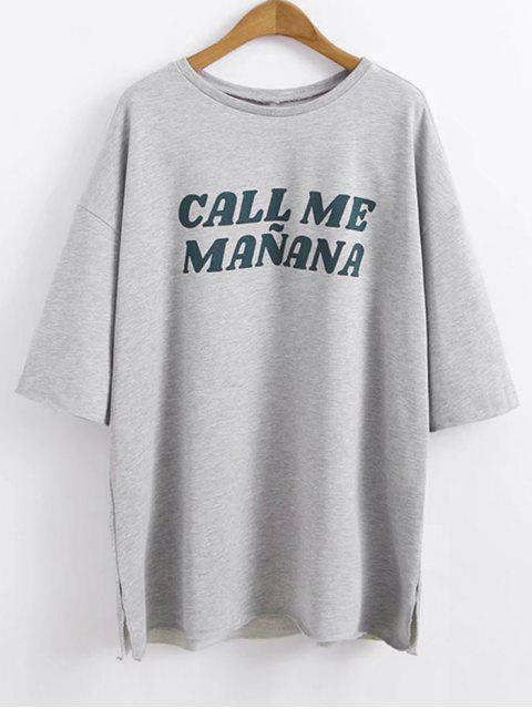 Drop Schulter übergroßen Buchstaben T-Shirt - Grau M Mobile