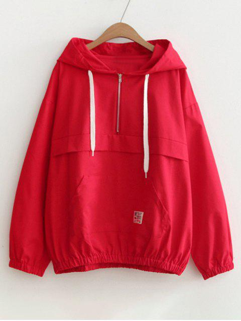 women Patched Pocket Half Zip Hoodie - RED ONE SIZE Mobile