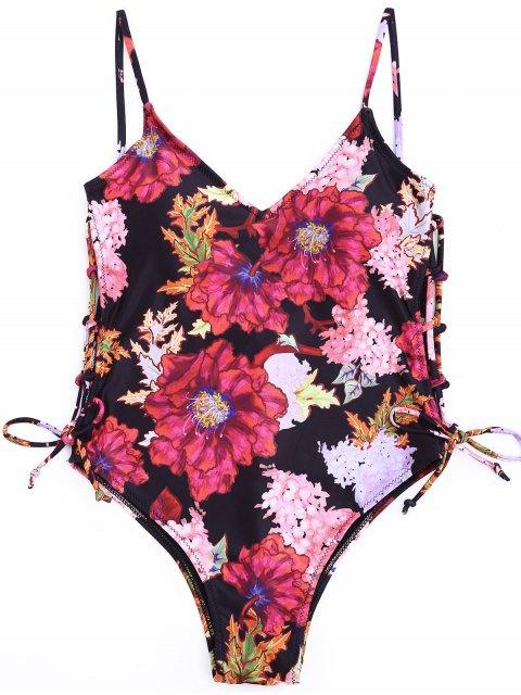 Seitenausschnitt Floral One Piece Badeanzug - Blumen S Mobile