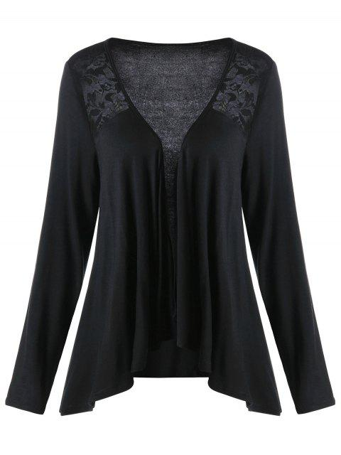 Lace Panel Plus Size Drape Cardigan - Negro 4XL Mobile