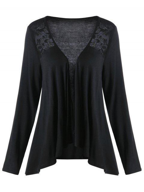 new Lace Panel Plus Size Drape Cardigan - BLACK 5XL Mobile