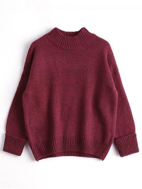 trendy Loose Heathered Mock Neck Sweater - WINE RED ONE SIZE Mobile