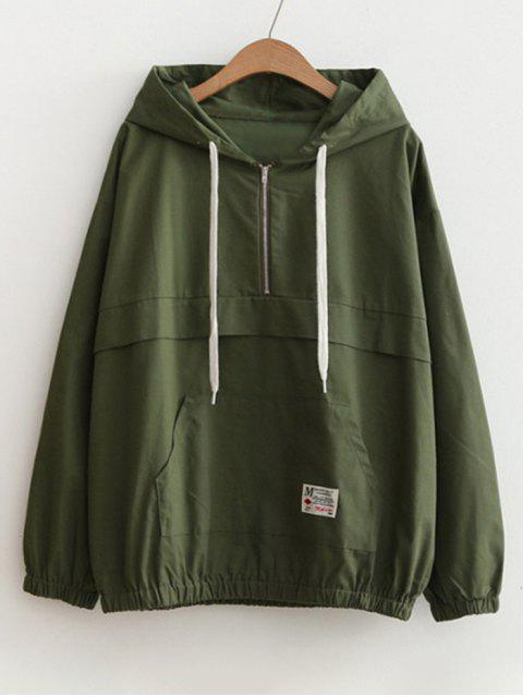 shops Patched Pocket Half Zip Hoodie - ARMY GREEN ONE SIZE Mobile