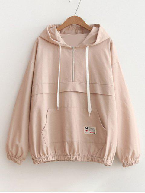 online Patched Pocket Half Zip Hoodie - PINK ONE SIZE Mobile