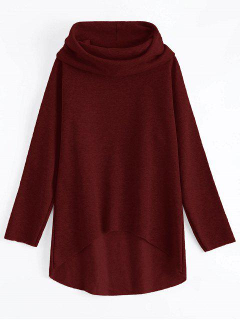 sale High-Low Tunic Hoodie - WINE RED L Mobile