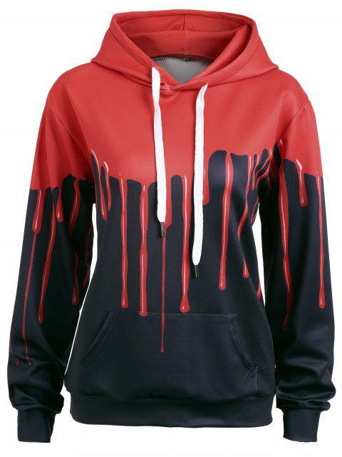 new Halloween Blood Print Drawstring Hoodie - RED + BLACK L Mobile