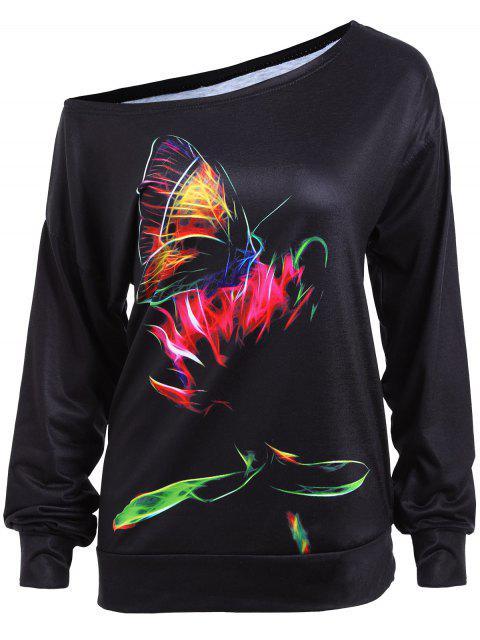 ladies Skew Neck Butterfly Graphic Sweatshirt - BLACK S Mobile