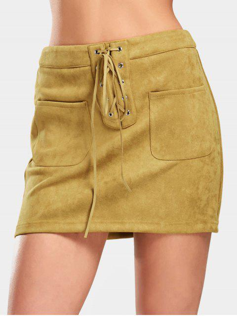 womens Lace Up Faux Suede Skirt with Pockets - GINGER M Mobile