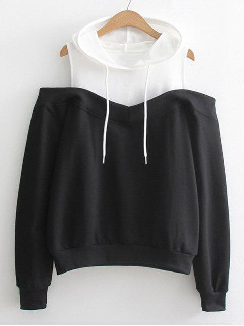 fancy Two Tone Cold Shoulder Hoodie - BLACK ONE SIZE Mobile