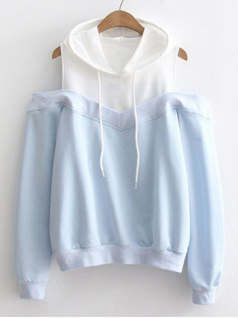 shop Two Tone Cold Shoulder Hoodie - LIGHT BLUE ONE SIZE Mobile
