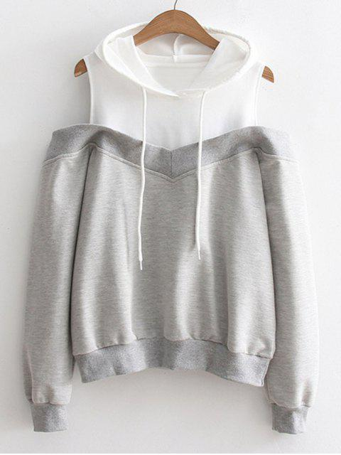 womens Two Tone Cold Shoulder Hoodie - GRAY ONE SIZE Mobile